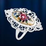 Серебряное кольцо. Финифть & Фианит