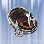 """Кольцо  из Серебра с Обсидианом """"Яшма"""""""